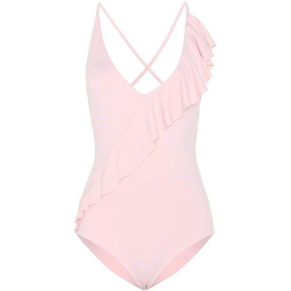 Marysia Palisades Ruffle Swimsuit featuring polyvore, women's fashion, clothing, swimwear, one-piece swimsuits, bikini, swim, swim suit, pink, bikini one piece swimsuit, flounce bikinis, pink swimsuits, swimsuits bikini and bikini swimsuit