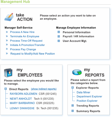 Mgmt Hub  Employee Mgmt Center  Mgr SelfService Hr Hrms