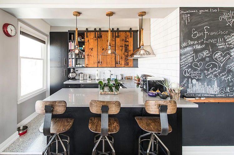 Cuisine Style Industriel Idées De Déco Meubles Et Luminaires - Meuble cuisine coulissant pour idees de deco de cuisine