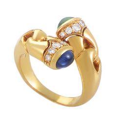 Bulgari Precious Gemstone Gold Crossover Ring