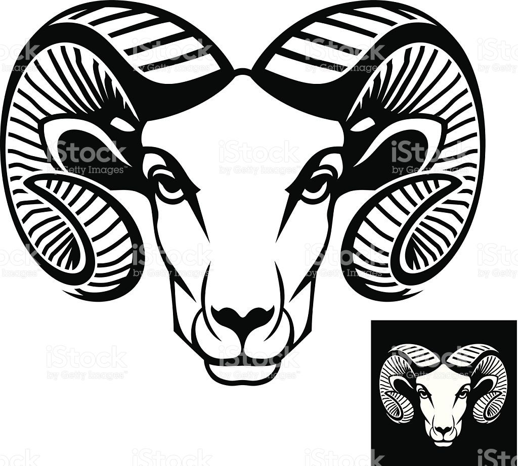 This is a ram head logo or icon in black and white. This