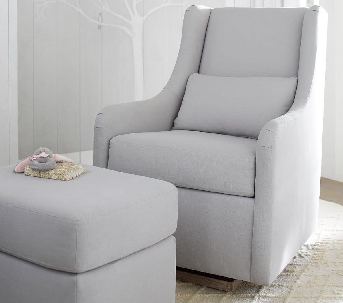 Merced glider linen blend grey glider and ottoman