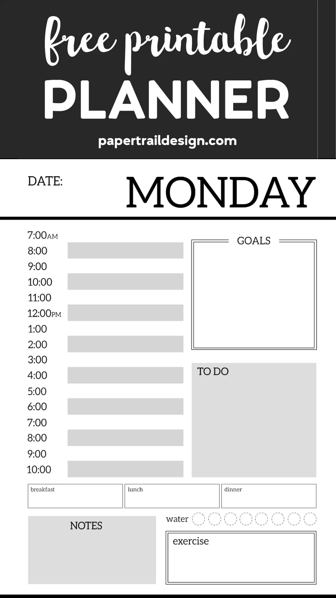 Monthly Planner Template {Printable Planner Pages}. Free printable day planner pages DIY. To do list, menu plan, weekly meal plan, calendar to get organized. #papertraildesign #planners #plannerprintables #plannerprintable #monthlyplanner #freeprintable #freeprintableplanner #todo #dialyplanner #weeklyplanner