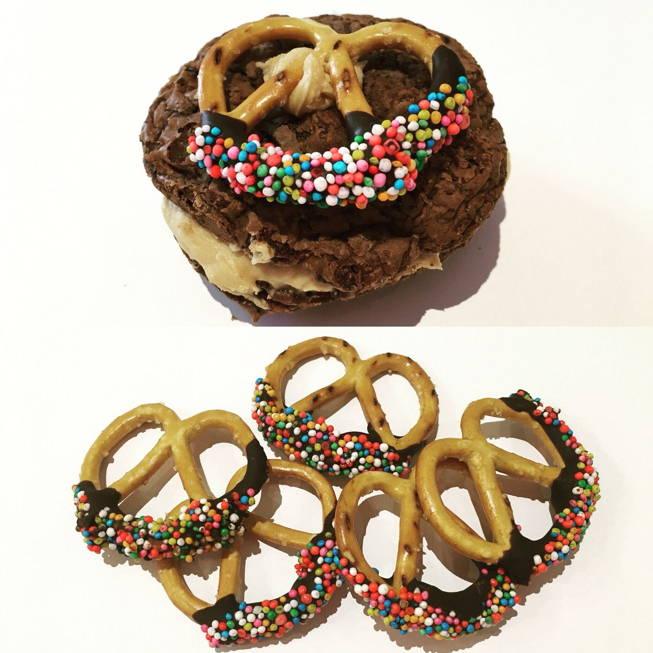 Chocolate espresso cookie sandwich with a chocolate coated pretzel and sprinkles on top....yum!