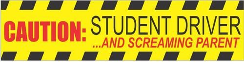 12 x 3 inches car magnetic sign Flexible Magnet Black Caution Student Driver and Screaming Parent