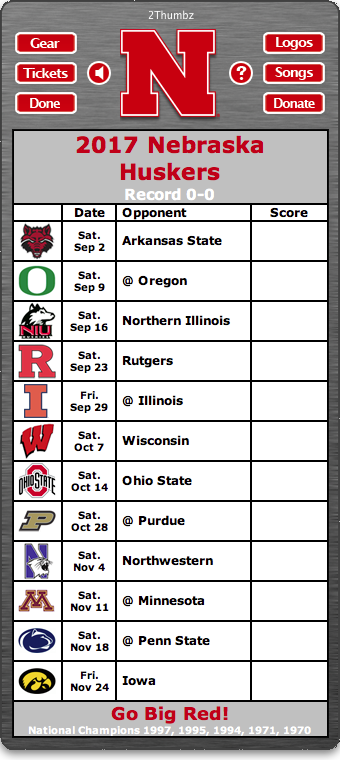 BACK OF MAC APP 2017 Nebraska Huskers Football Schedule
