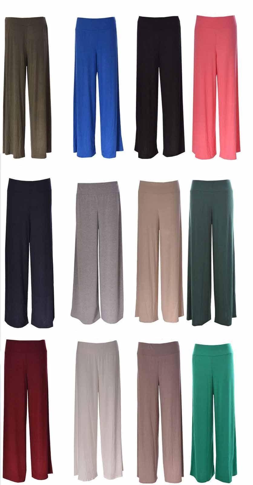 35c335999fa84 New Women Ladies Palazzo Plain Flared Wide Leg Pants leggings Baggy Trousers