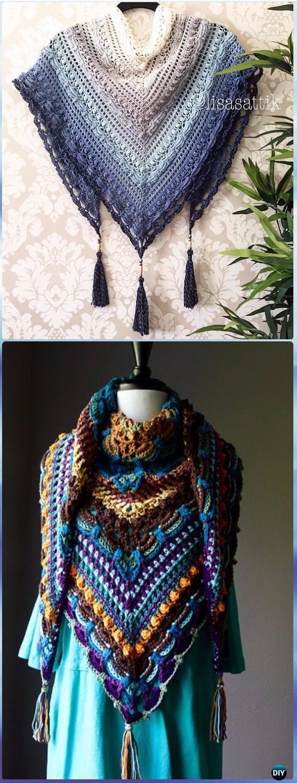 Crochet Lost in Time Shawl Free Pattern - Crochet Women Shawl Sweater Outwear Free Patterns