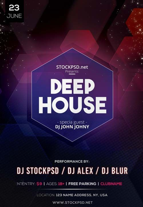 Deep House Dj Event Free Psd Flyer Template Httpfreepsdflyer