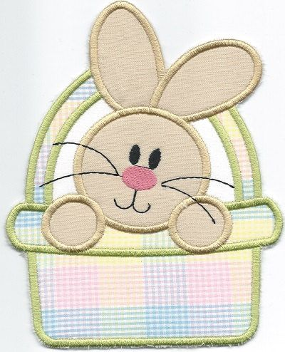BUNNY in Basket  Patch ironon machine embroidered by QUILTSRUS08, $3.50