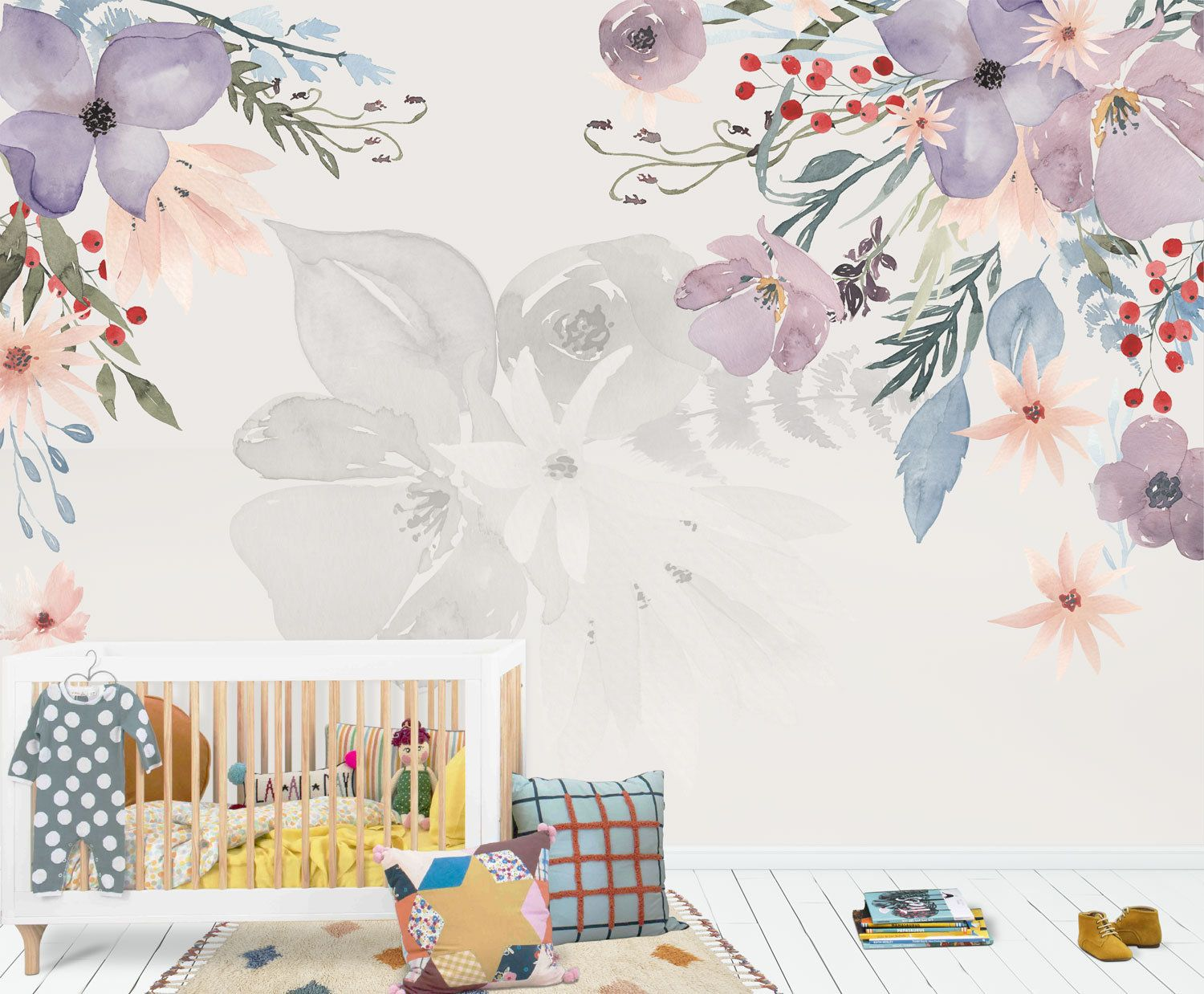 Boho Chic Watercolor Flowers Wall Mural Lila Flowers Wallpaper