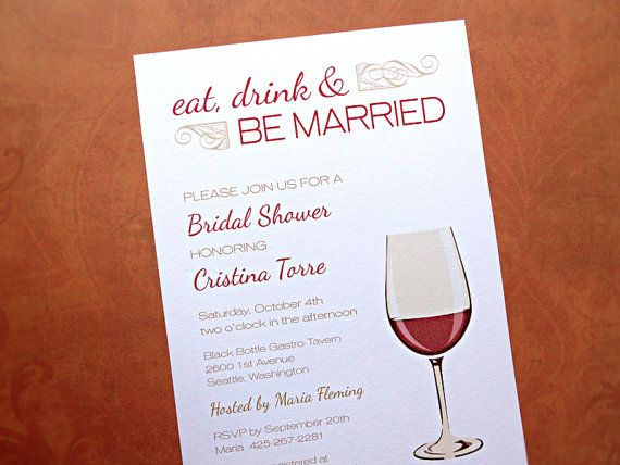 bridal shower invitations eat drink be married wine theme 10 count on etsy 1350