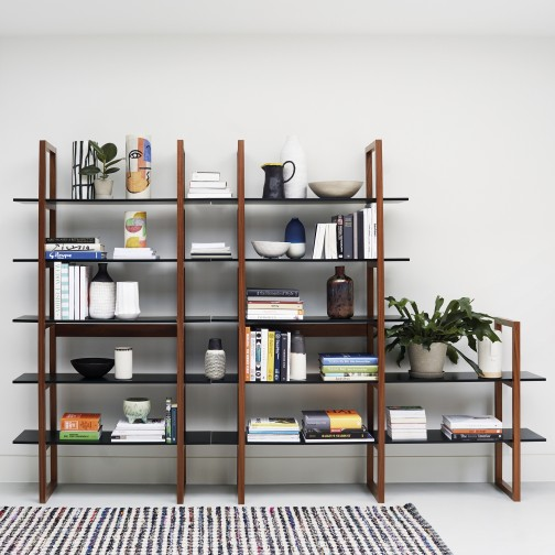 Loki Walnut And Black Extra Wide 5 Shelf Bookcase In 2020 5