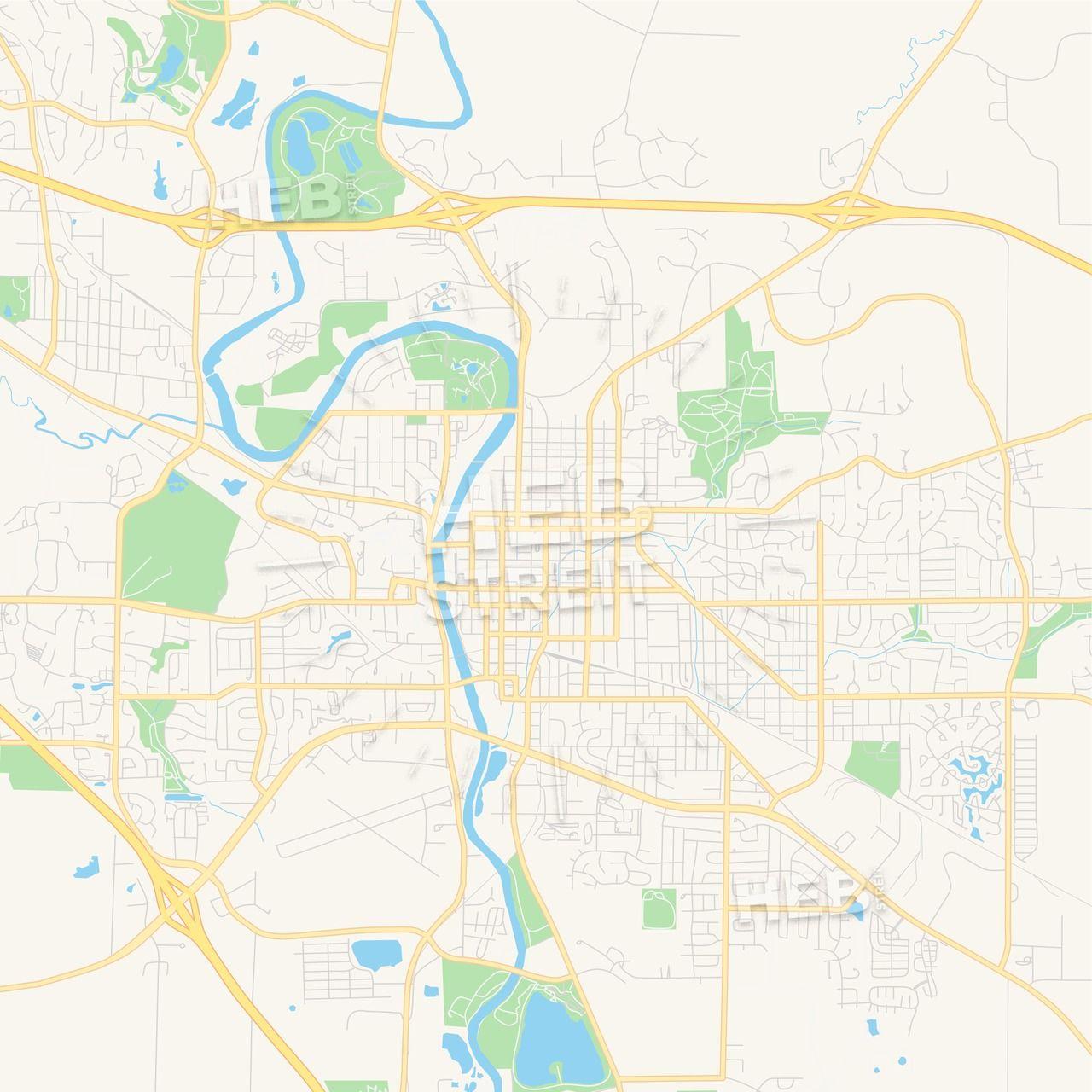 Empty Vector Map Of Iowa City Iowa Usa Iowa City Map Vector Map