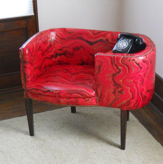 Mid Century Upholstered Gossip Bench Marbleized Vinyl Red