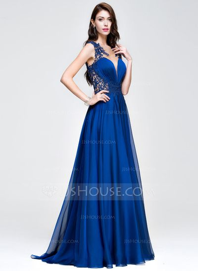 cb7df9ba5b064 A-Line Princess Scoop Neck Sweep Train Chiffon Prom Dress With Ruffle  Beading Appliques Lace Sequins (018081668)