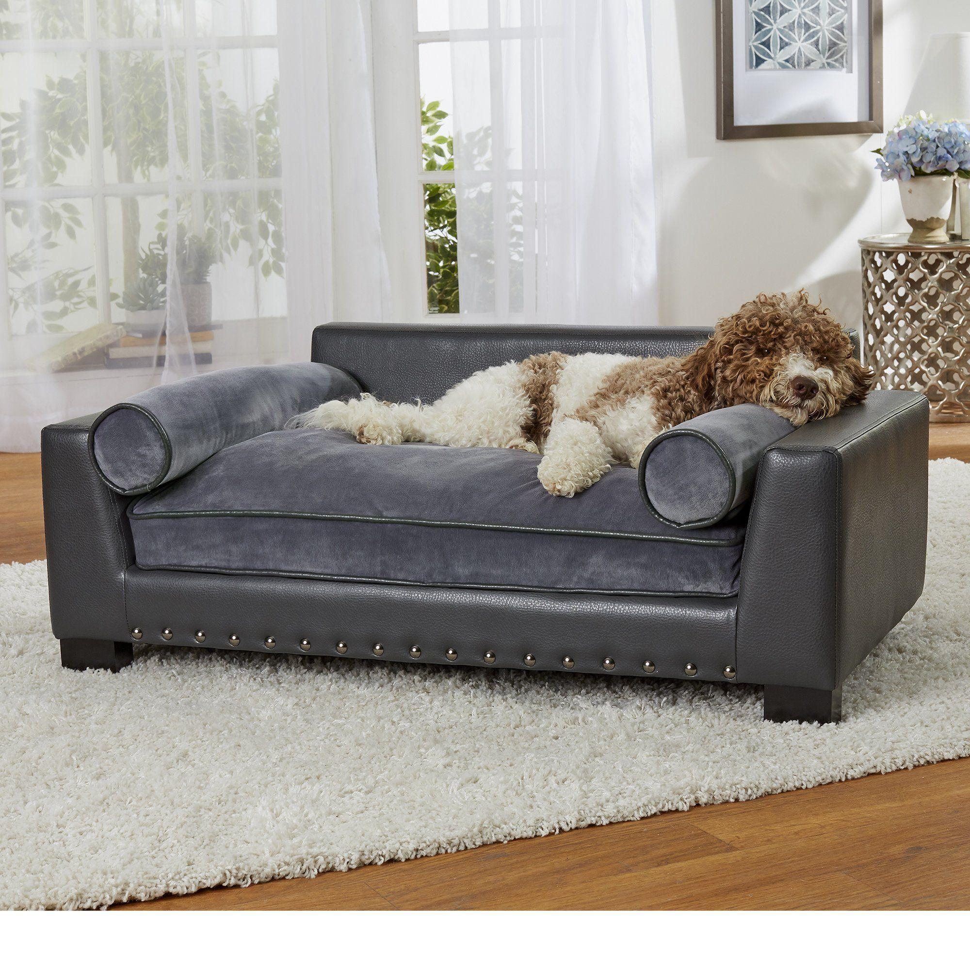 Enchanted Home Pet Skylar Dark Grey Sofa For Dog 42 L X 26 W Dog Sofa Bed Dog Bed Sofa Bed