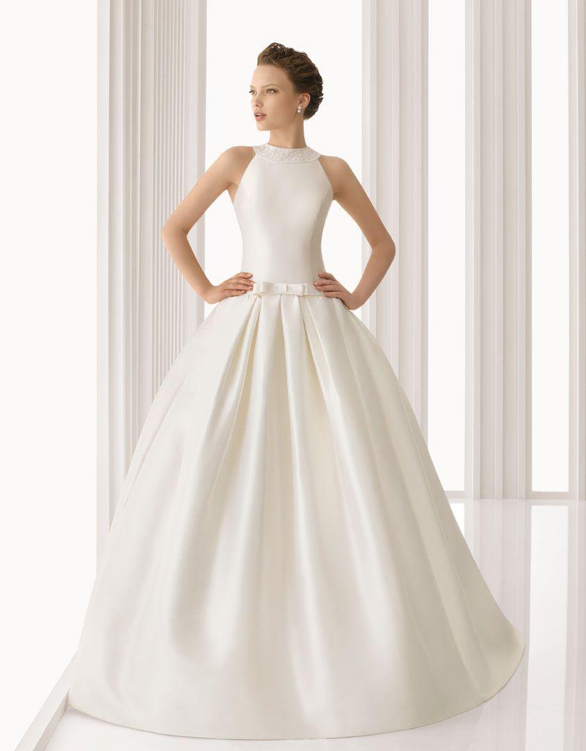ARGELIA - Vestido de novia de bordado pedrería en mikado de seda y ...
