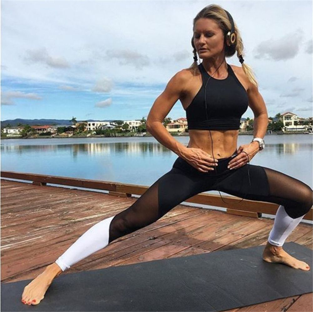 6fe2aea9e030e Buy Online Mesh Patchwork Breathable Fitness Leggings Quick Dry Elastic  Yoga Pants Women Cool Sport Leggings Workout Running Tights  sport   sportcenter