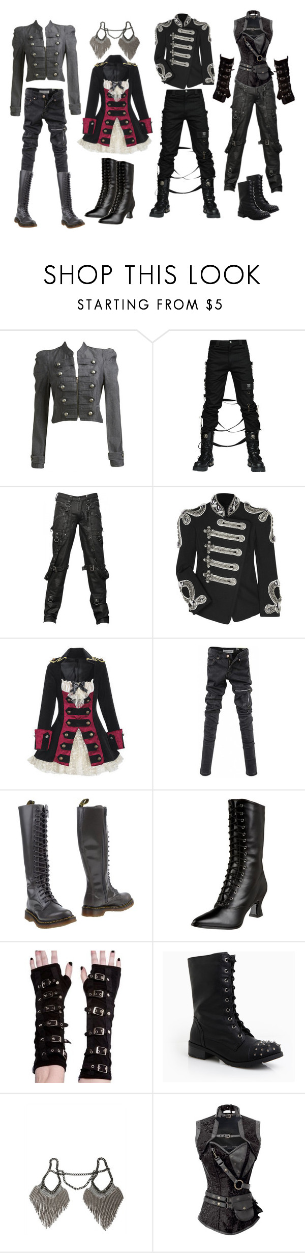 """""""Military Gothic"""" by queenstormrider ❤ liked on Polyvore featuring Arden B., Balmain, Eurø Style, Dr. Martens, Poizen Industries, DailyLook and Falconiere"""