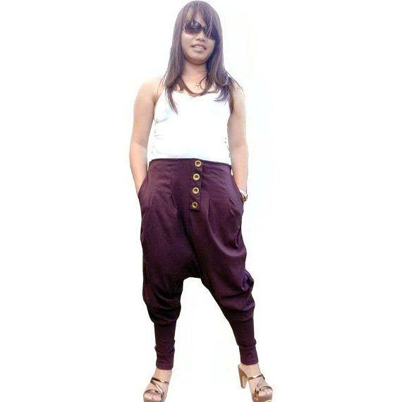SUMMER SALE 40% Off Trousers Ninja Comfortable Pants,Unisex ,Cotton Jersey Plum Color. auf Etsy, 18,08€