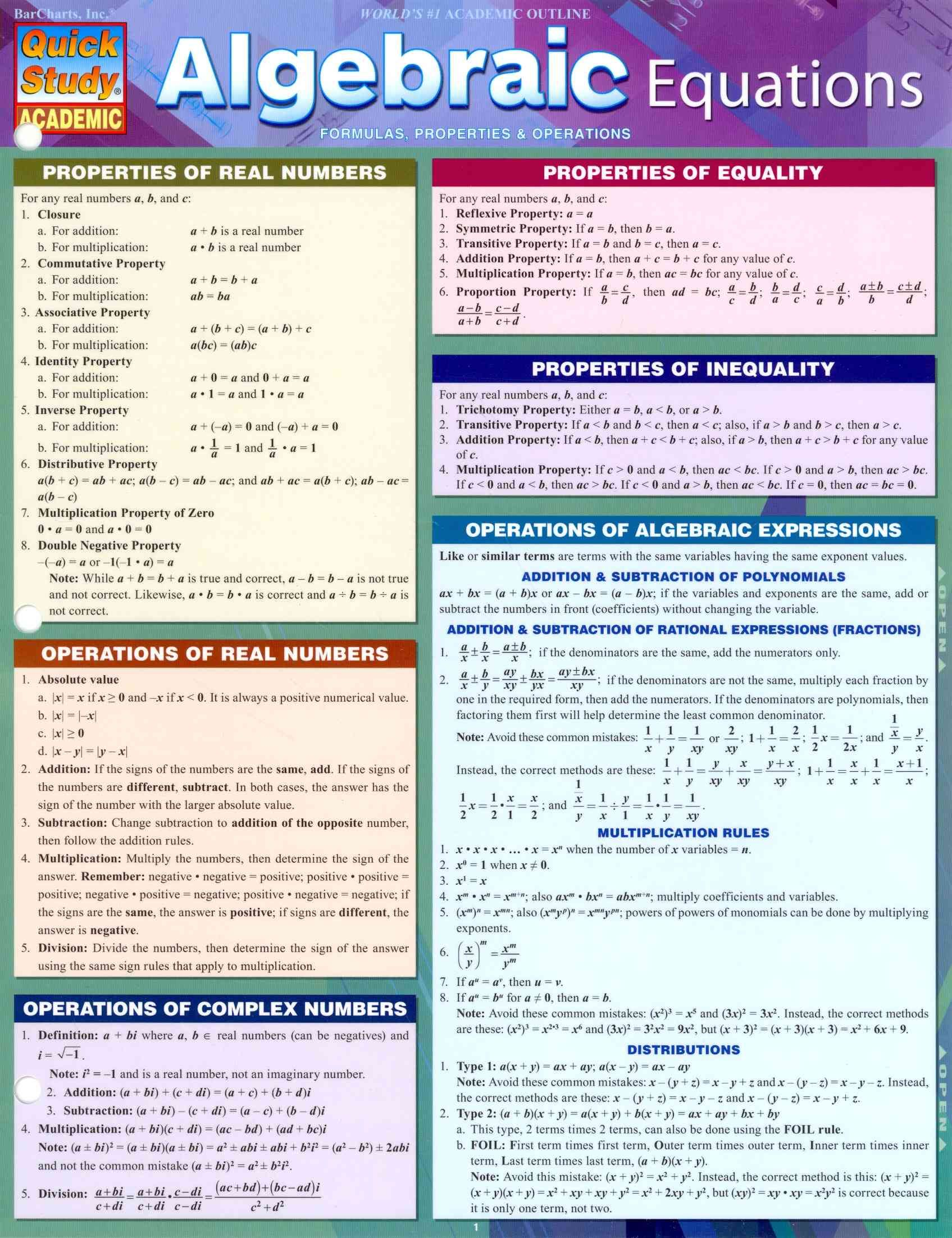 Algebraic Equations Formulas Properties Amp Operations
