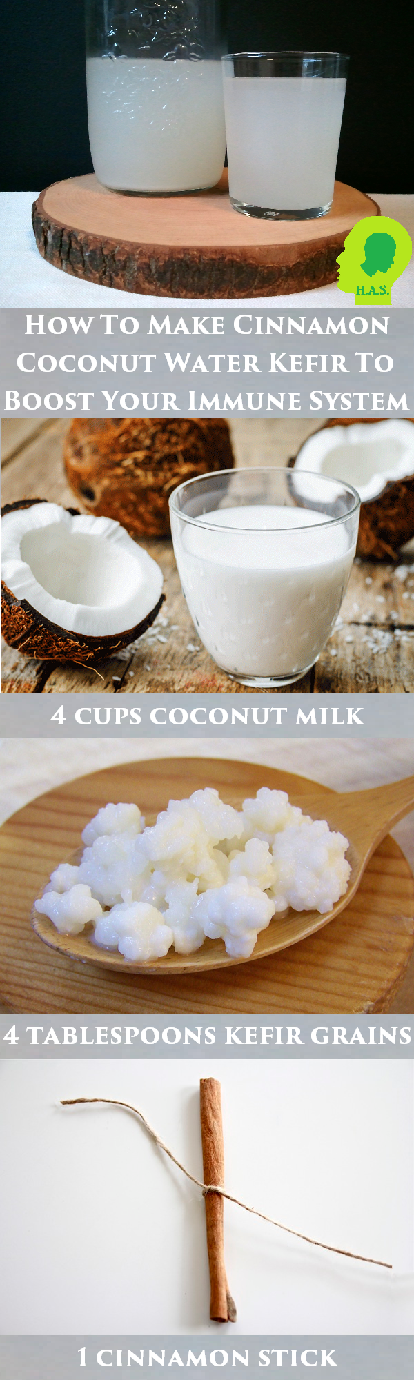 Containing high quantities of healthy bacteria, vitamins and minerals vital to a healthy body, cinnamon coconut kefir water is incredibly easy to make.
