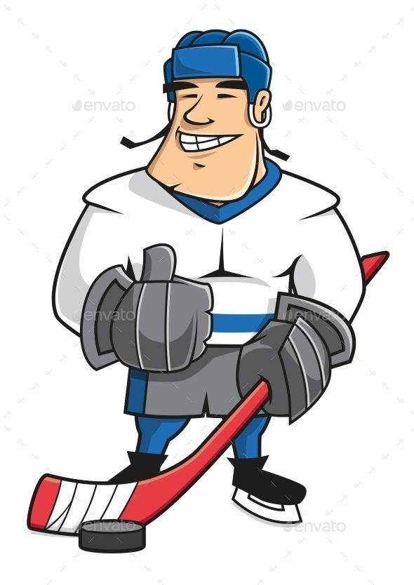 Cartoon Ice Hockey Player Character Hockey Players Ice Hockey Players Hockey