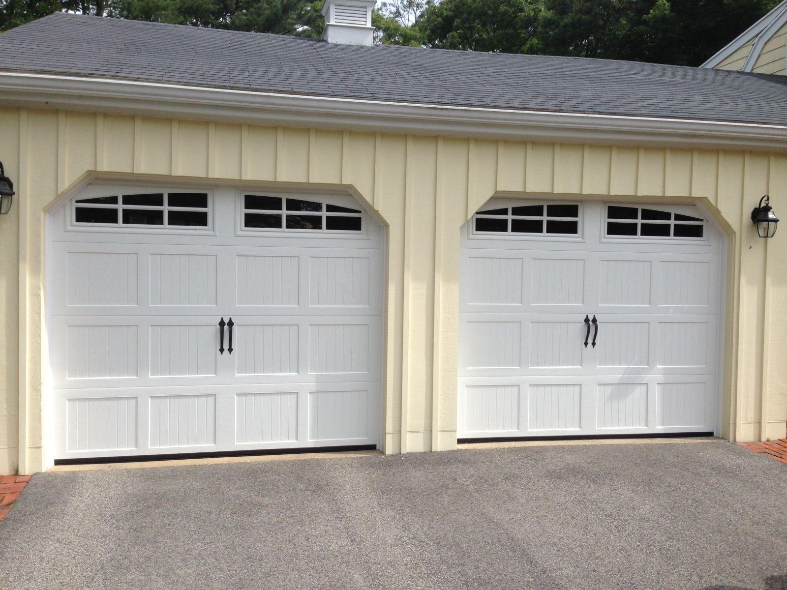 White carriage garage door - Haas Model 660 Steel Carriage House Style Garage Doors In White With Arch 6 Pane Glass