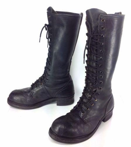 s linesman black leather knee high steel toe