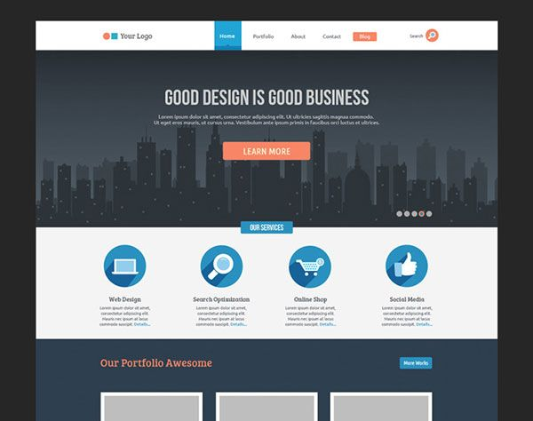 Free Download Flat Business Template - Free PSD | Free Mockup ...
