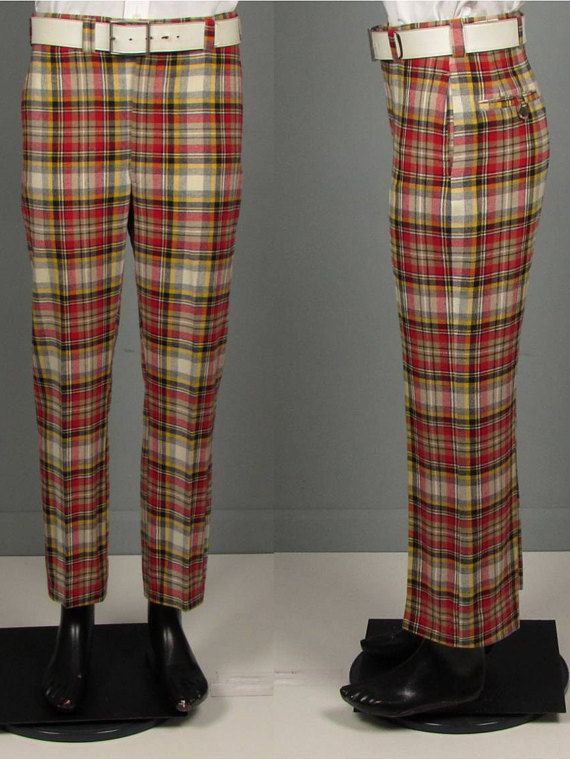 Vintage Mens 1960s Trousers -- NOS Deadstock Wool Blend Plaid Pants ... e426e75ba
