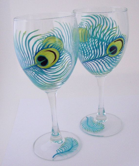 Peacock Feather Wine Glasses Set 49 99 Hand Painted Wine Glass Hand Painted Glassware Painted Wine Glasses