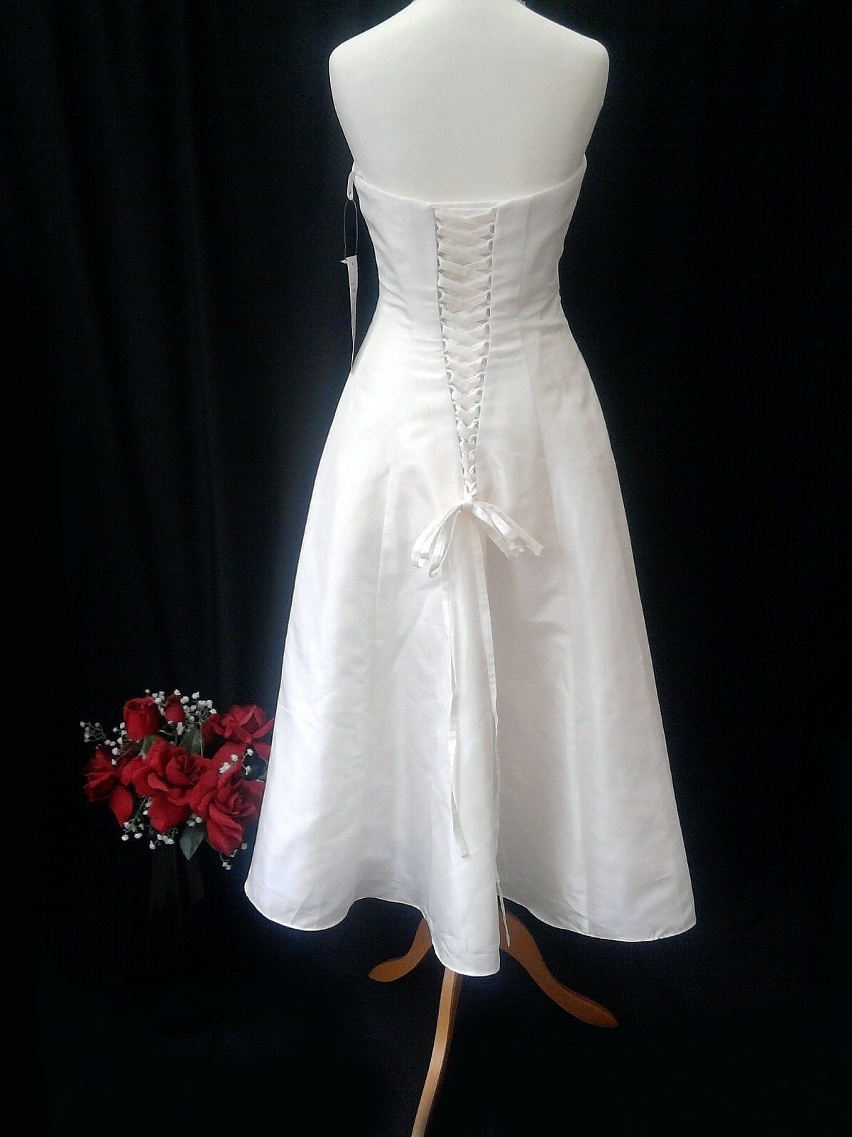 Ivory calf length plain giovanna wedding dress size new with