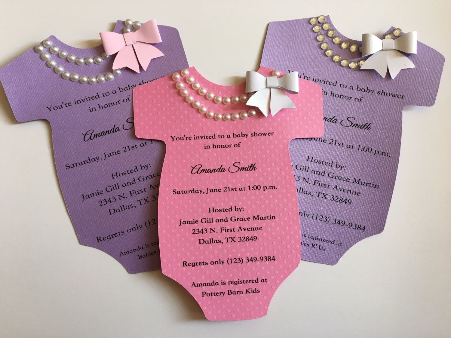0d01bfcde Baby Shower Onesie Invitation with Pearls/Rhinestone Necklace and Bow by…