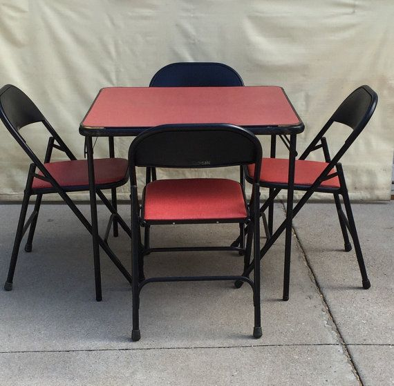 Vintage Samsonite Card Table And Chairs, Card Table Chairs, Samsonite Chairs,  Red Chairs