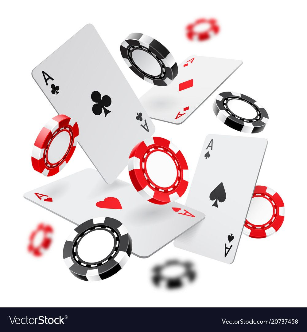 Falling aces and casino chips with blurred vector image on