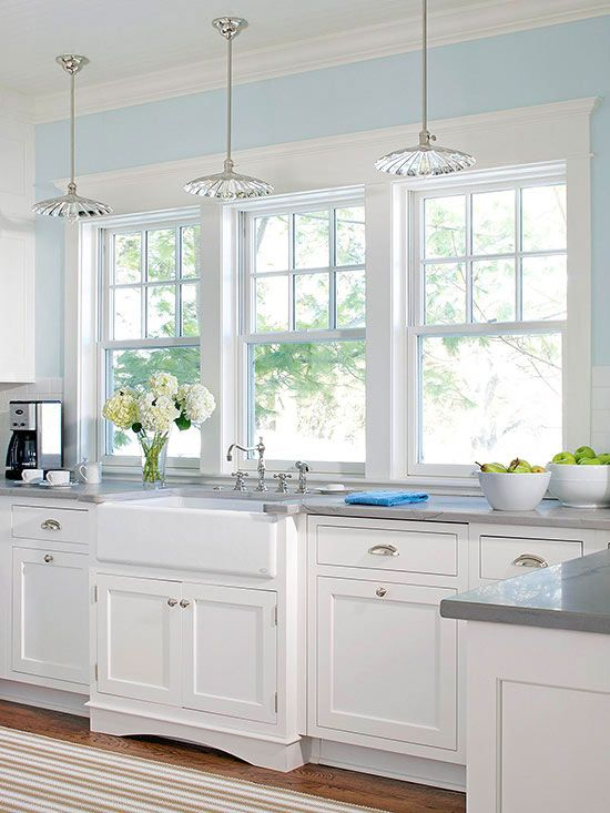 Charming Quality Kitchens With White Cabinets Light Blue Walls Kitchen