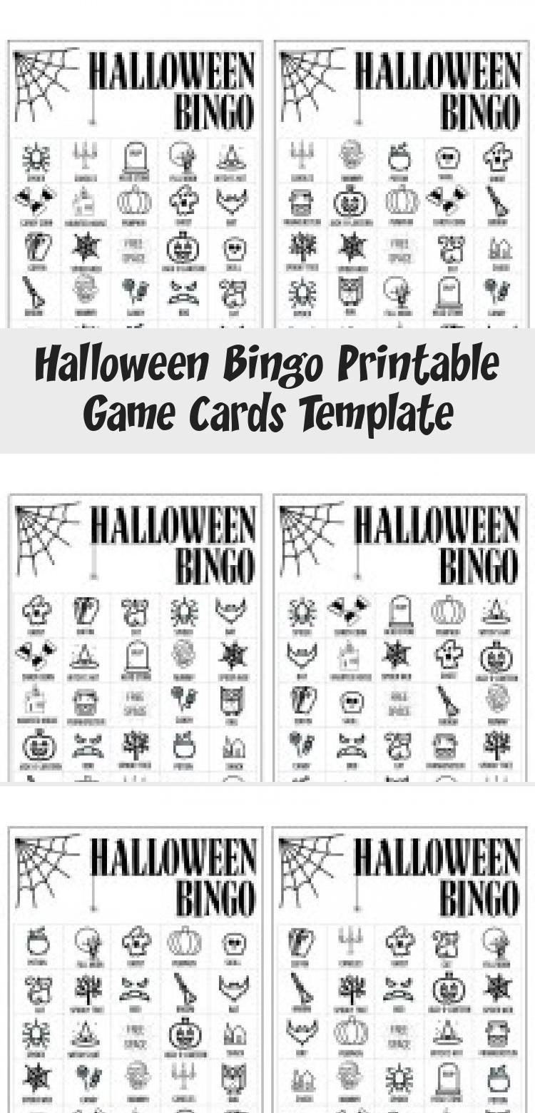 Halloween Bingo Printable Game Cards Template. Fun kids