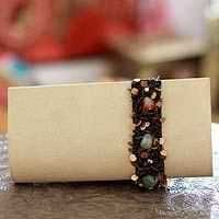Beaded clutch handbag, 'Natural Glam'
