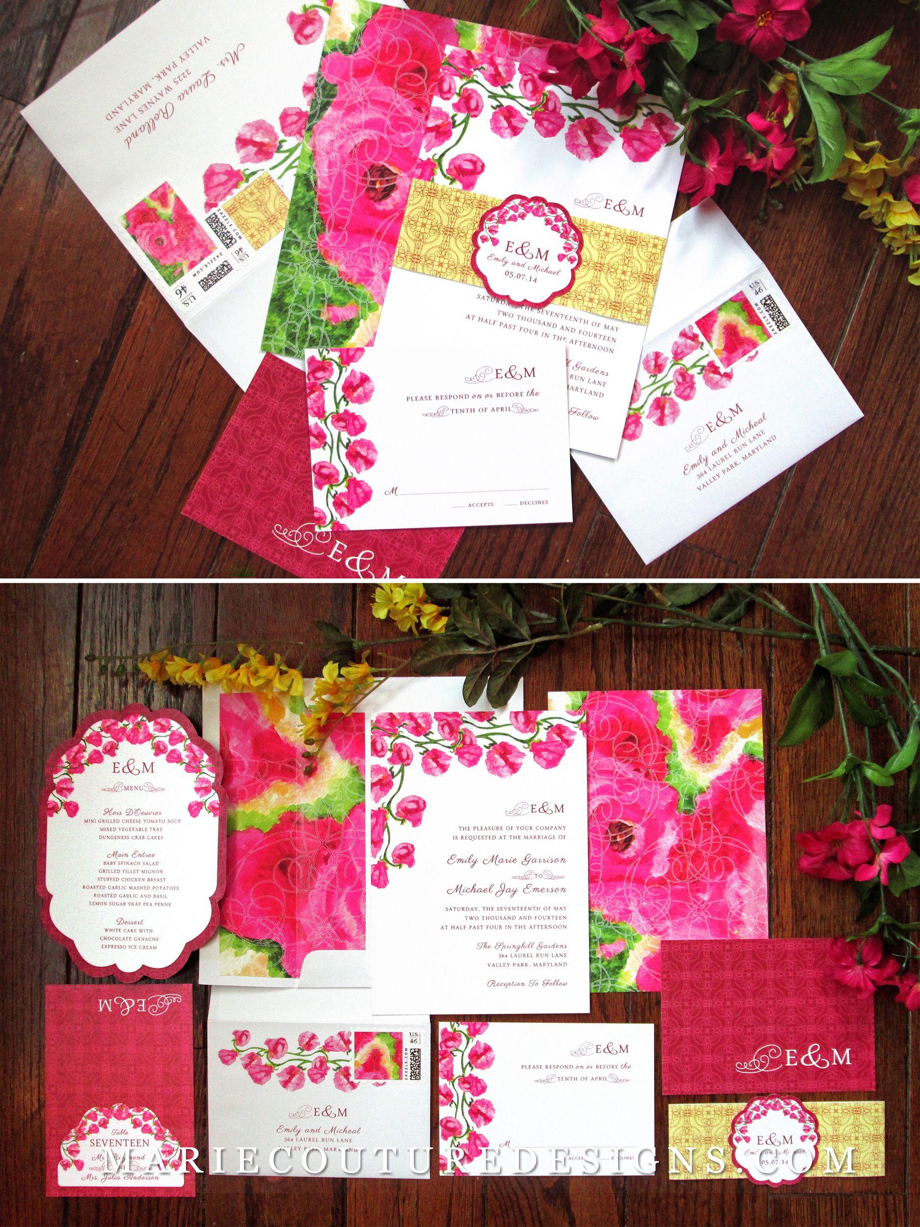 Items Similar To Sweet Pea Fl Strawberry Pink Wedding Invitation Diy Digital Printable Print On Your Own Yellow Design Custom Etsy