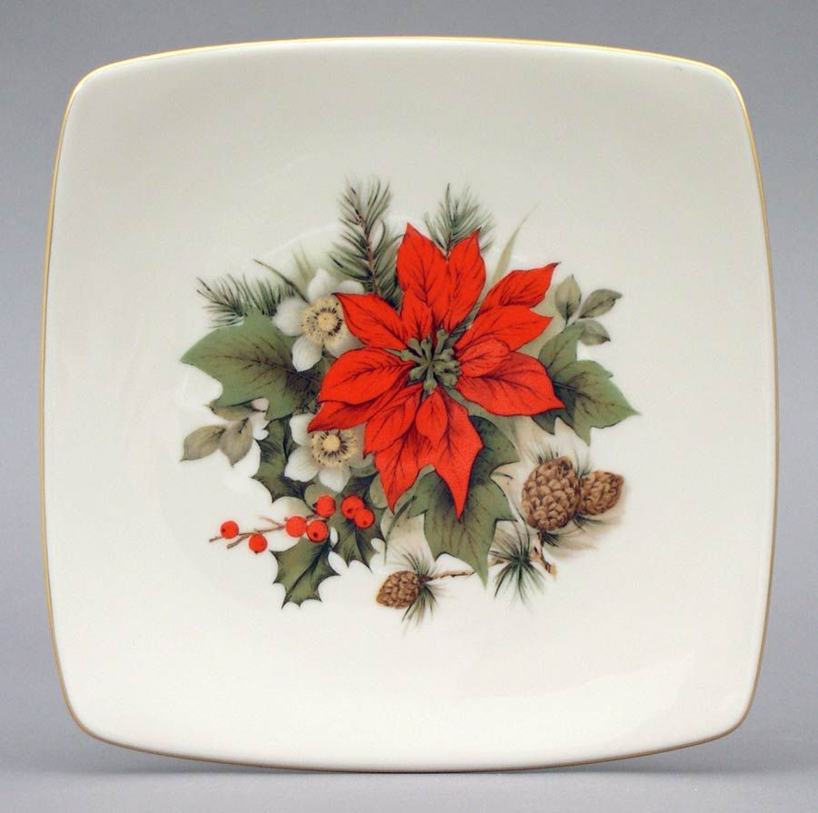 Poinsettia Square Plate Salad Plate 7½  x 7½ . Holidays Collection from Pickard China $22.00 & Poinsettia Square Plate Salad Plate 7½