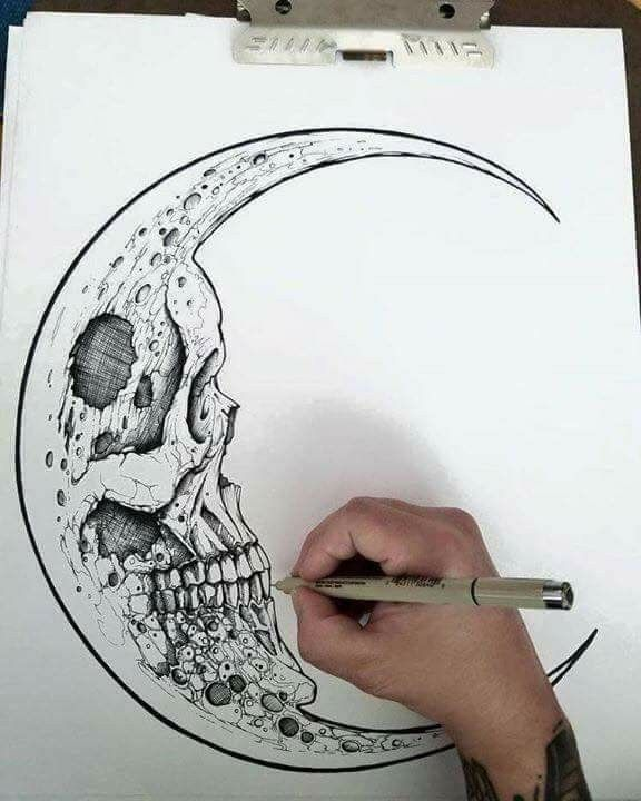 Skull moon drawing | doodle | Pinterest | Moon drawing and Doodles