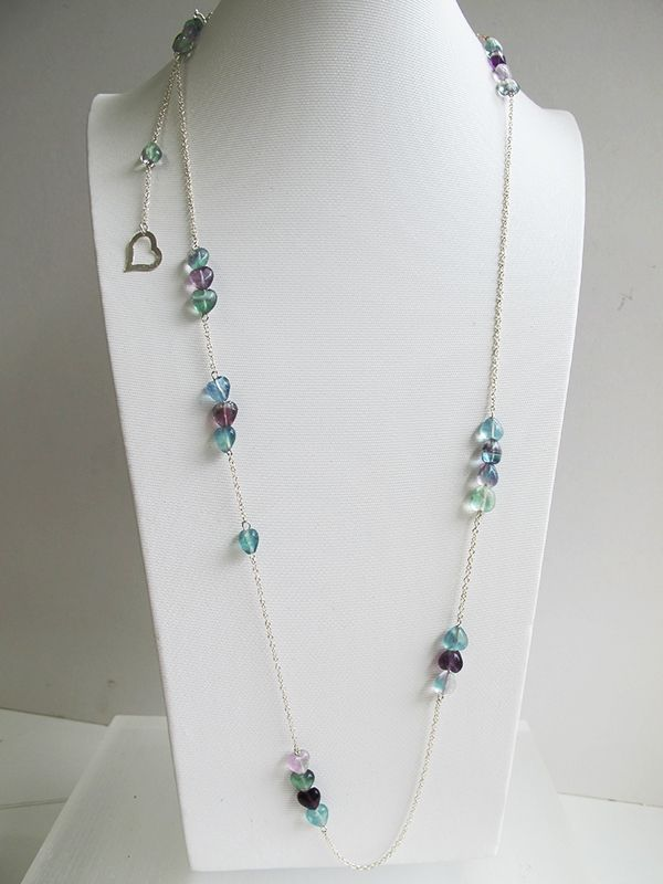 Natural rainbow heart fluorite gemstone necklace, 925 sterling sliver long necklace, FREE Shipping