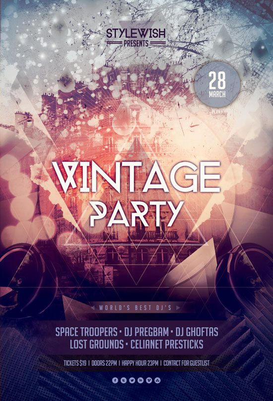 Vintage Party Flyer - ss flyer club simple city line | FLYERS ...