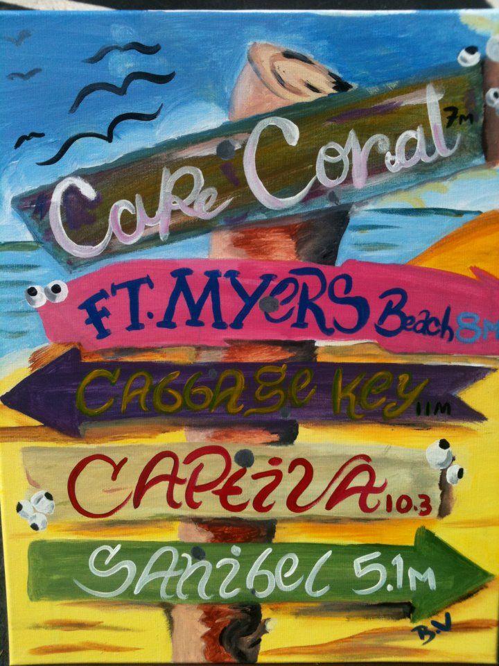 Beach sign, Lee County, Florida ~j~4