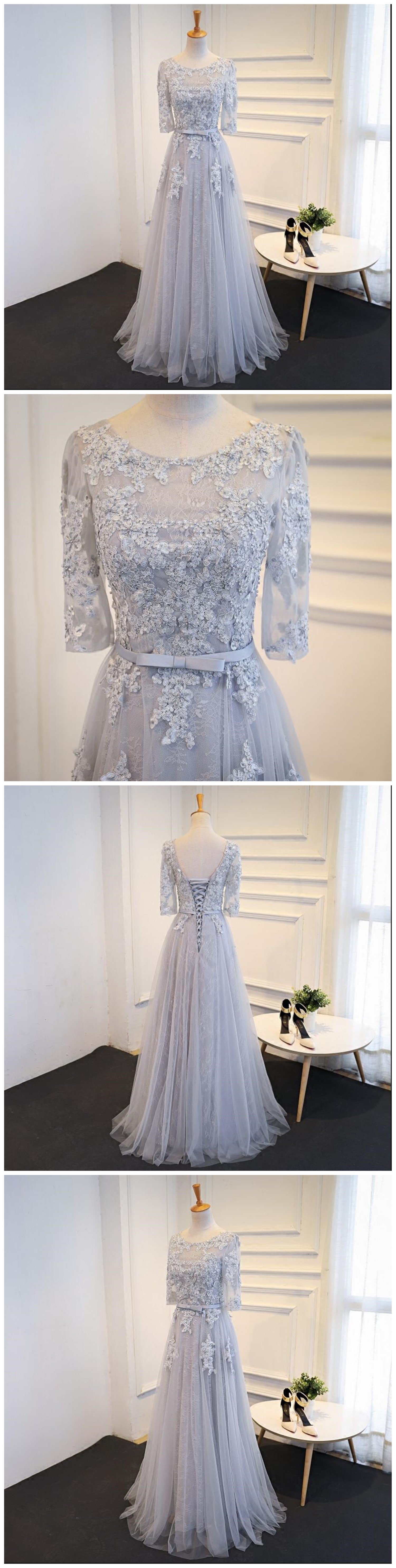 Long sleeve gray lace evening prom dresses party prom dresses