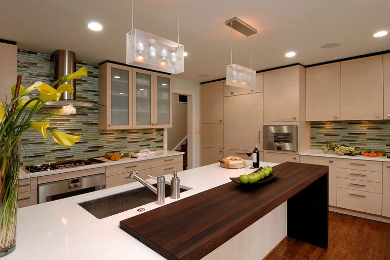 How To Brighten Up A Dark Wood Kitchen Butcher Block Waterfall Countertop Modern White Kitchen Cabinets Kitchen Design Contemporary Kitchen