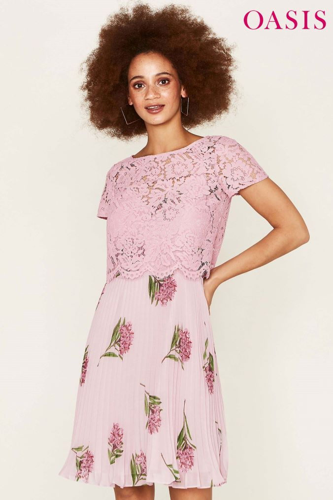 Womens Oasis Pink Natural History Museum Lace Top Pleated