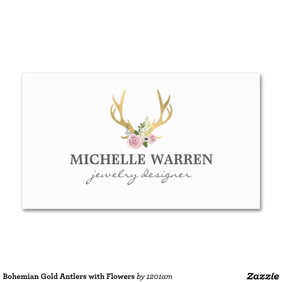 Bohemian Gold Antlers with Flowers Business Card | Antlers, Business ...